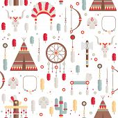 image of indian chief  - Seamless pattern of vector colorful ethnic set with dream catcher - JPG