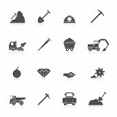 foto of gold mine  - Mining coal gold and diamond industry black icons set isolated vector illustration - JPG