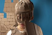 image of berserk  - photo of the boy in medieval knight costume made of cardboards - JPG