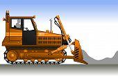 image of dozer  - Silhouette of a worker in a orange bulldozer - JPG