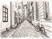 stock photo of street-art  - Hand drawn Street Old town Gamla Stan in Stockholm sketch Vector illustration - JPG