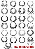 picture of laurel  - Round laurel wreaths heraldic icons set with ribbons and branches for design such as heraldry - JPG