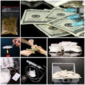 stock photo of crack addiction  - Drug addiction collage - JPG