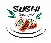 foto of bamboo leaves  - Red and green colored Japanese sushi seafood emblem with bamboo leaves suitable for restaurant and food logo design - JPG