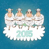 picture of baby sheep  - Cartoon Christmas and New Year vector card with 2015 symbol  - JPG