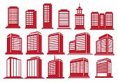 picture of high-rise  - Vector illustration of the modern high rise buildings in various perspective views and designs - JPG