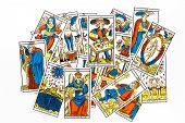 picture of clairvoyance  - Tarot card draw isolated on white background - JPG