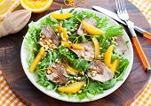 picture of duck breast  - Salad with roasted duck breast and orange - JPG