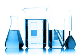 stock photo of chemical reaction  - Chemical glassware in the laboratory - JPG