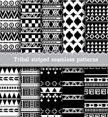 stock photo of tribal  - Tribal striped seamless patterns - JPG