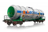 picture of boxcar  - Industrial railway tankcar with biofuel isolated on white background with reflection effect - JPG