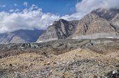 stock photo of shan  - Dramatic high altitude landscape on Engilchek glacier in Tian Shan mountain range in Kyrgyzstan - JPG