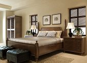 picture of wardrobe  - A modern bedroom with bed and wardrobe - JPG