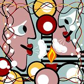 picture of surrealism  - Abstract heads blows out the candle - JPG