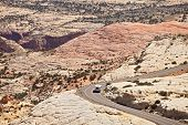 foto of southwest  - Landscape panorama of curved Mountain road with travelers in the red rock desert of Utah beautiful desert nature southwest USA - JPG
