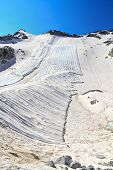 foto of italian alps  - summer view in Presena glacier with geotextile fabrics Italian Alps - JPG