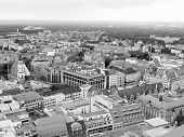pic of leipzig  - Aerial view of the city of Leipzig in Germany in black and white - JPG