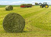 stock photo of tractor-trailer  - Haybales in field with tractor and trailer in background - JPG