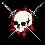 stock photo of skull cross bones  - skull with two crossed daggers on black and red background - JPG