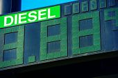 image of fuel economy  - Diesel Fuel Price Gas Station Display Closeup - JPG