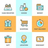 pic of gift basket  - Line icons set with flat design elements of shopping symbol discount for products shop elements and commerce items market objects and store products - JPG