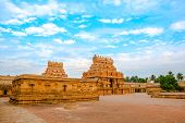 image of trichy  - view of the entrance tower at Hindu Brihadishvara Temple India Tamil Nadu Thanjavour  - JPG