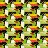 pic of toucan  - toucans bird colorful seamless pattern vector art and illustration - JPG