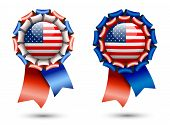 pic of rosettes  - ribbon rosettes with american flags isolated on white background vector illustration eps 10 with transparency - JPG