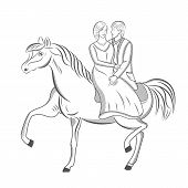 stock photo of carriage horse  - Vector illustration of a wedding walk the bride and groom on a horse - JPG