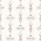 foto of mannequin  - Small vintage iron mannequin seamless pattern with inscription hand sewn - JPG