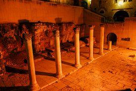 stock photo of cardo  - Ancient Roman main street through Jerusalem called the Cardo at night - JPG