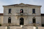 pic of city hall  - France city hall in a beautiful town with flag on it - JPG