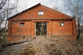 stock photo of nuclear disaster  - Abandoned Shed In Belarusian village - JPG