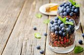 pic of quinoa  - oatmeal nuts quinoa granola with blueberries on a dark wood background - JPG
