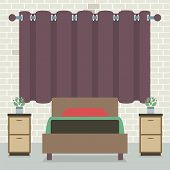 picture of curtain  - Single Bed In Front Of Curtain And Brick Wall Vector Illustration - JPG