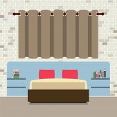 pic of flat-bed  - Flat Design Double Bed With Headboard Vector Illustration - JPG