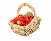 image of strawberry  - juicy ripe strawberries in the basket - JPG