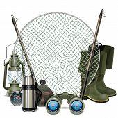 stock photo of fishing rod  - Fishing frame with lamp - JPG