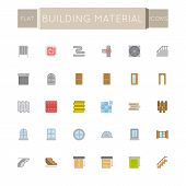 stock photo of plinth  - Thirty flat building material icons - JPG