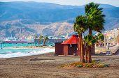 stock photo of windy weather  - Kite surfing at Costa de Almeria - JPG
