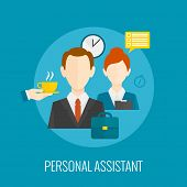 stock photo of personal assistant  - Personal assistant concept with coffee and notes on blue background flat icon vector illustration - JPG