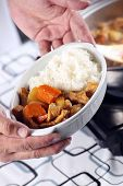stock photo of pork  - Chef presented Japanese pork curry with steam rice  - JPG