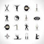 stock photo of ninja  - Ninja icons flat set with japanese men in traditional fighting costumes and weapon isolated vector illustration - JPG