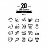 stock photo of food logo  - Thin lines icons set of restaurant food and beverages cafe menu items popular healthy and various fast - JPG