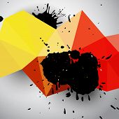 foto of color spot black white  - Grunge vector colorful abstract background with geoometric triangle mesh in red and yellow colors and black  blots - JPG