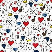 image of navy anchor  - Sea doodle hipster background colorful seamless isolated hand drawn pattern with diamonds pipes red hearts 