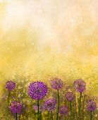 stock photo of onion  - Oil painting Purple onion flower in the meadows - JPG