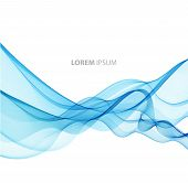 image of curves  - Vector Abstract blue curved lines background - JPG
