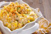 stock photo of stew pot  - Fresh creamy crock pot corn on a table - JPG