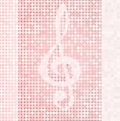 stock photo of clefs  - Shiny delicate background with treble clef vector pink color - JPG